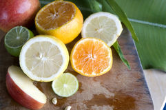 Colorful citrus and fresh apple Stock Photography