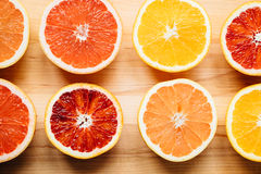 Colorful citrus fruit from above stock photo