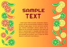 Colorful citrus fruits background, vector royalty free illustration