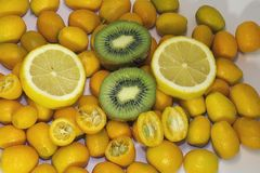 Colorful Citrus fruits close up in my room Royalty Free Stock Photos