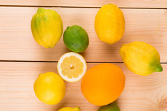 Colorful citrus fruits Stock Images