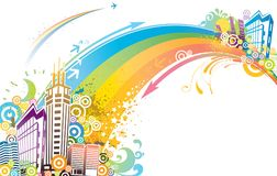 Colorful city. An illustration of a colorful city with a rainbow Stock Photo