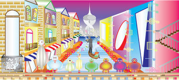 Colorful city. Illustration of a cartoon landscape with multicolored buildings  art Stock Photography