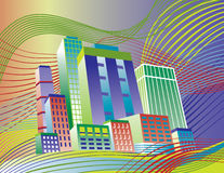 Colorful City. Illustration of a colorful city and wavy background.  Buildings are grouped for easy editing. Background is on separate layer Stock Photo