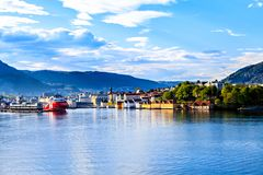 Colorful city of Bergen in Norway view from water Stock Photos