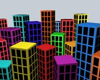 Colorful city blocks Stock Image