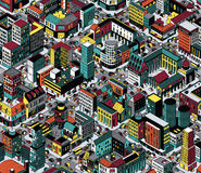 Colorful City Blocks Isometric Seamless Pattern - Medium size royalty free illustration