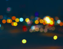 Colorful City Bokeh On A Very Dark Background Stock Image