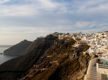 Sunset from Fira. Colorful city of Fira on sunset, Santorini Greece stock image