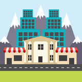 Colorful city in the flat style. Corner shops, houses and bank. Vector illustration Royalty Free Stock Photography