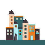 Colorful City With Houses And Apartments. Real Estate Concept Royalty Free Stock Image