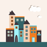 Colorful City With Houses And Apartments. Real Estate Concept Royalty Free Stock Images
