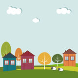 Colorful City, Houses For Sale / Rent. Real Estate. Colorful City, Eco Houses For Sale / Rent. Real Estate stock illustration
