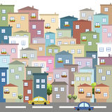 Colorful City, Houses For Sale / Rent. Real Estate. Panoramic View stock illustration