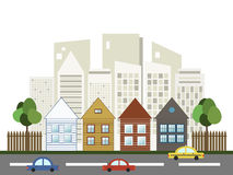 Colorful City, Houses For Sale / Rent. Real Estate. Colorful City With Skylines And Cars, Houses For Sale / Rent. Real Estate vector illustration