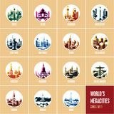 Colorful city icons, modern flat style travel destinations icons,. Round icons stock illustration
