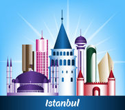 Colorful City of Istanbul Turkey Famous Buildings. Editable Vector Illustration stock illustration