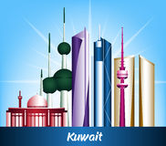 Colorful City of Kuwait Famous Buildings royalty free illustration