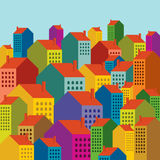 Colorful city landscape Royalty Free Stock Photos
