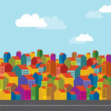 Colorful city landscape Stock Photos