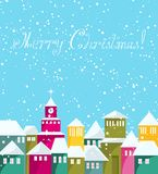 Colorful city at Merry Christmas card. Stock Image