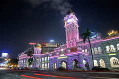 Colorful city night. With famous landmark, Sultan Abdul Samad Building, in Kuala Lumpur, Malaysia, Asia Stock Images