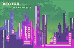 Colorful city panorama. Silhouettes of buildings, cityscape at night, vector background. Tall buildings, towers, skyscrapers. Royalty Free Stock Photography