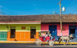 Colorful city scene in Managua Nicaragua. A colorful city street in Managua Nicaragua in Central America Stock Images