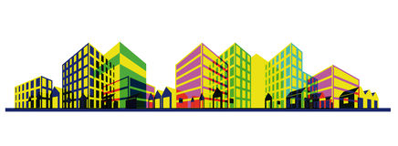 Colorful city silhouette. Perspective drawing Stock Photography