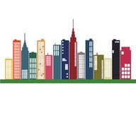 Colorful City Skyline Royalty Free Stock Photography