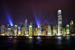 Colorful city skyline at night. The stunning skyline of Hong Kong at nighttime Stock Photo