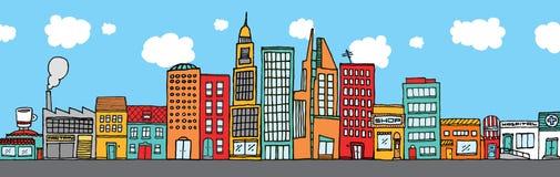 Colorful city skyline Stock Image
