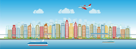 Colorful city skyline with traffic of various vehicles train airplane car ship in flat style, cityscape Royalty Free Stock Images