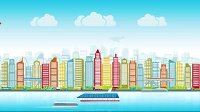 Colorful city skyline with traffic of various vehicles train airplane car ship in flat style, cityscape, seamless loop. The concept of the modern city, the stock video footage