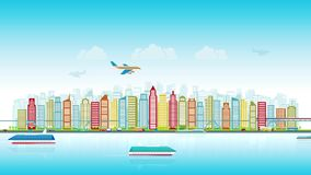 Colorful city skyline with traffic of various vehicles train airplane car ship in flat style, cityscape, seamless loop. The concept of the modern city, the stock video