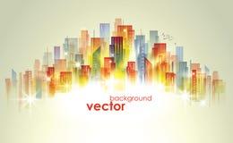 Colorful City skyline, vector illustration Stock Photography