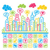Social Media City. Colorful city with social media icons Royalty Free Stock Image