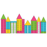 Colorful city street. Vector illustration Royalty Free Stock Photo