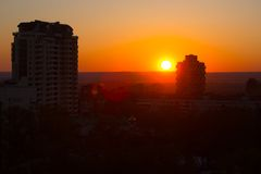 Colorful of city sunset Royalty Free Stock Photography