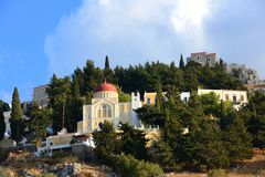 Colorful city of Symi , Greek island Royalty Free Stock Image