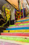 Colorful city Valparaiso stairs Royalty Free Stock Photography