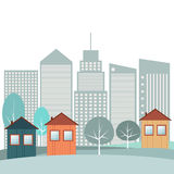 Colorful City, Winter Theme. Colorful City With Cozy Houses, Skylines Background, Winter Theme vector illustration