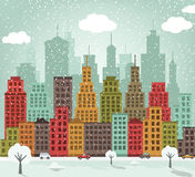 Colorful city (winter) Stock Photography