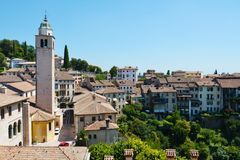 Colorful cityscape in Asolo, Italy Stock Images