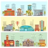 Colorful Cityscape Horizontal Banners. With buildings benches lanterns trees and air balloon vector illustration Royalty Free Stock Photo