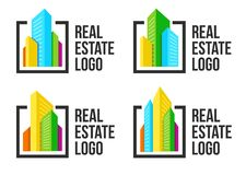 Colorful cityscape logo set in black frame. New buildings logotype. Real estate agency sign template. Stock Photography