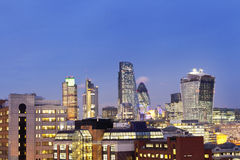 Colorful cityscape of London at dusk Royalty Free Stock Photo