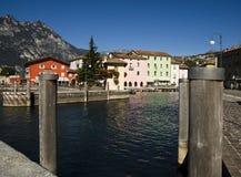 Colorful cityscape and marina,  Torbole, Italy Royalty Free Stock Photos