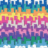 Colorful cityscape pattern Stock Photo