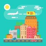 Colorful cityscape scene in flat design Stock Photo